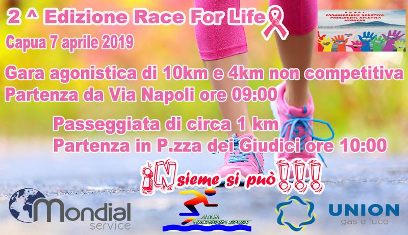 Race for life 2019 gara podistica di Capua