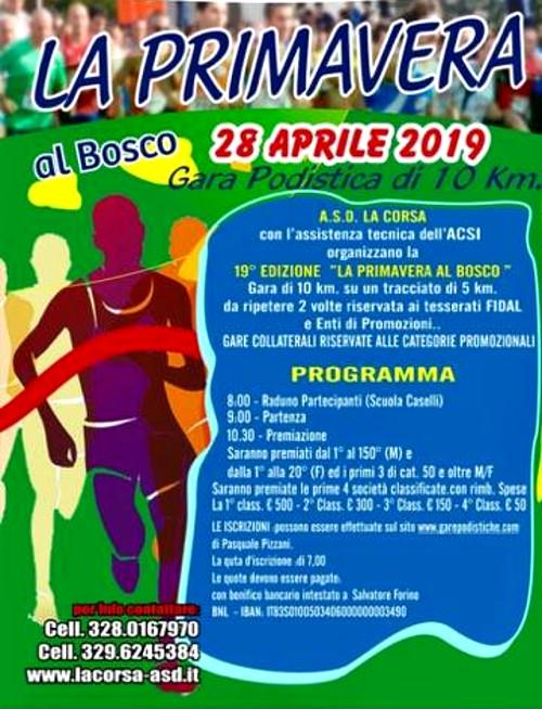 Primavera al bosco 2019 gara podistica di Capodimonte