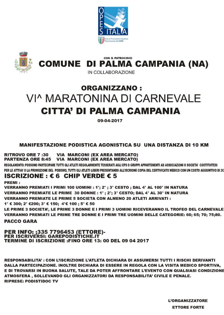 Calendario Gare Podistiche Campania.Palma Campania Maratonina Di Carnevale Gara Podistica 2017