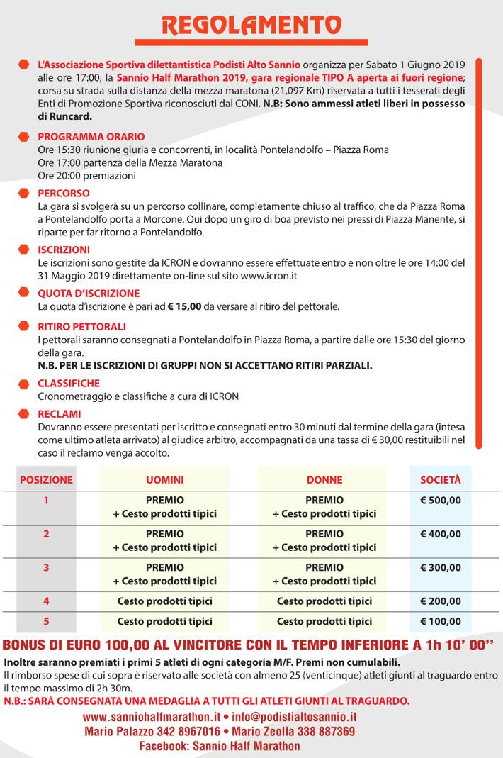 Regolamento Sannio Half Marathon 2019
