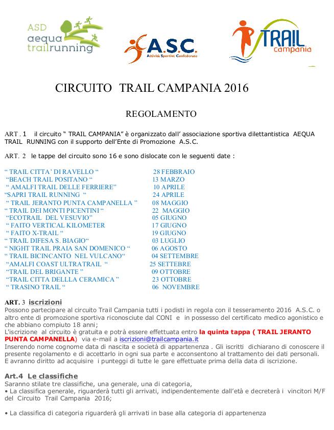 Calendario Promozione Campania.Circuito Trail Campania 2016 Calendario Gare